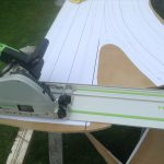 Cutting the short straight lines.