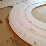 Routing the racing line: Always secure the base in previous nail holes.